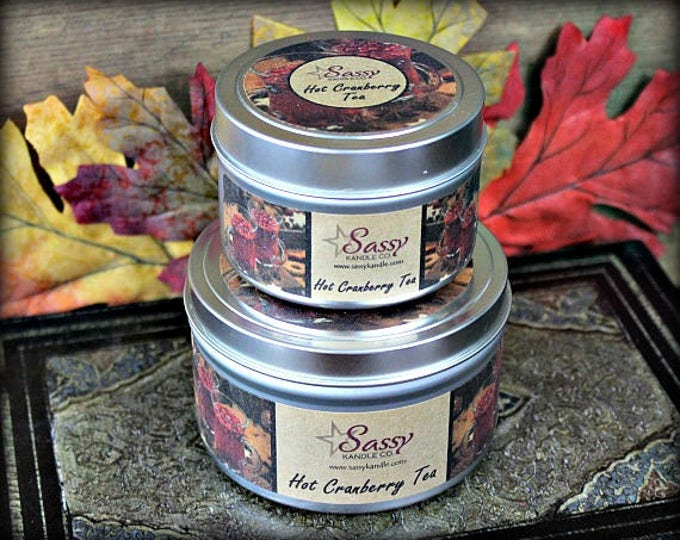 HOT CRANBERRY TEA | 4 oz Candle Tin | 8 oz Candle Tin | Phthalate Free | Sassy Kandle Co.