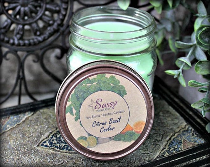 CITRUS BASIL COOLER | Mason Jar Candle |  Phthalate Free | Sassy Kandle Co.