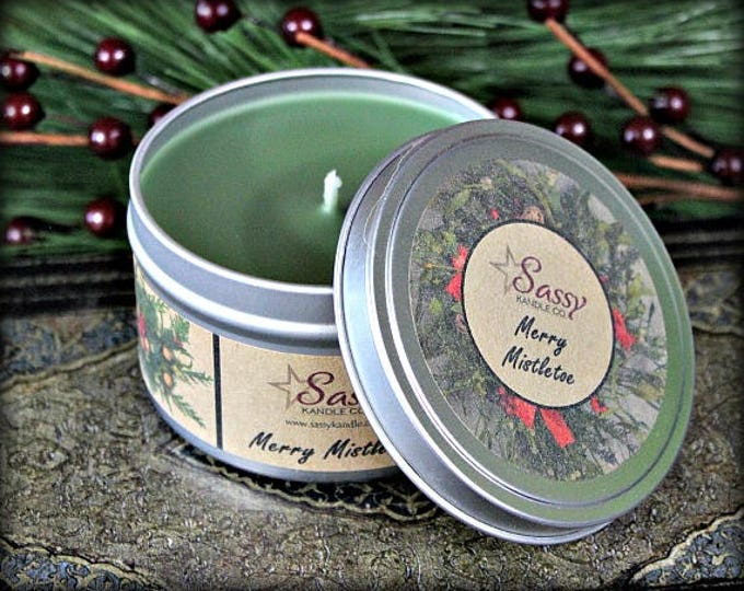 MERRY MISTLETOE | 4 oz Candle Tin | 8 oz Candle Tin | Soy Blend Candle | Sassy Kandle Co.