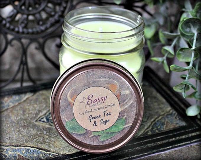 GREEN TEA & SAGE | Mason Jar Candle | Clearance!