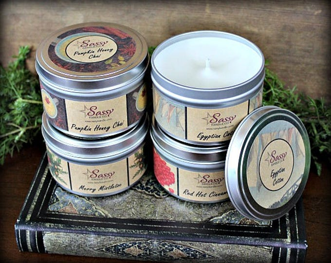 Pick 4 | 8 oz CANDLE TINS | Sassy Kandle Co. | Scented candles | Variety candles | Soy Blend