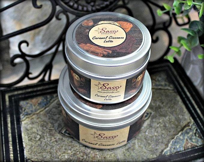 CARAMEL CINNAMON LATTE | Candle Tin (4 or 8 oz) | Sassy Kandle Co.