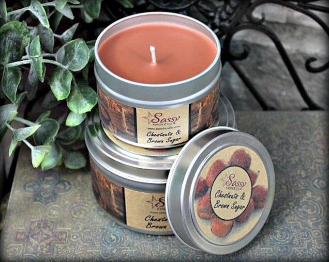 CHESTNUTS & BROWN SUGAR | Candle Tin (4 or 8 oz) | Sassy Kandle Co.