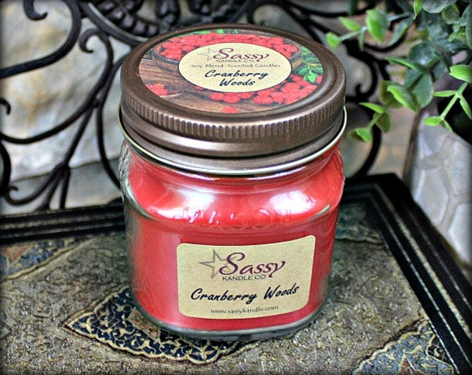CRANBERRY WOODS | Mason Jar Candle | Phthalate Free | Sassy Kandle Co.