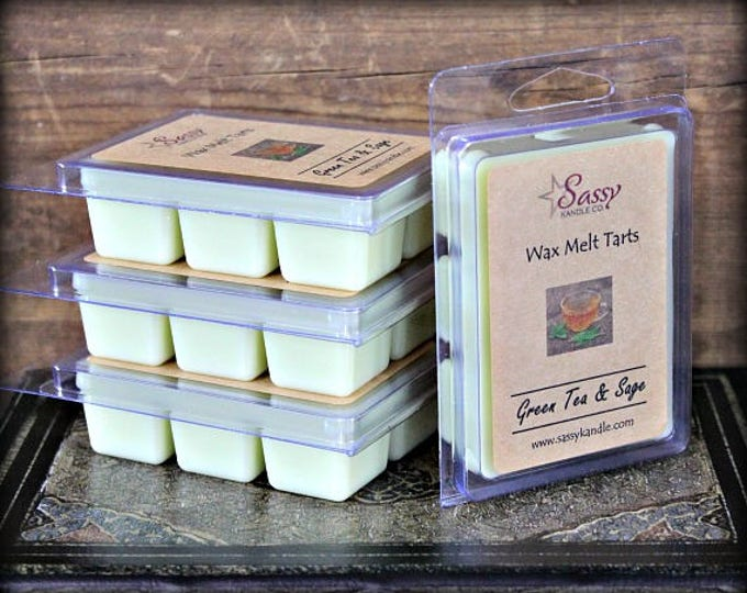 GREEN TEA & SAGE | Wax Melt Tart | Wax Tart | Wax Melt | Phthalate Free | Soy Blend | Sassy Kandle Co.