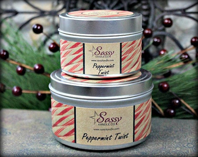 PEPPERMINT TWIST | Candle Tin (4 or 8 oz) | Sassy Kandle Co.