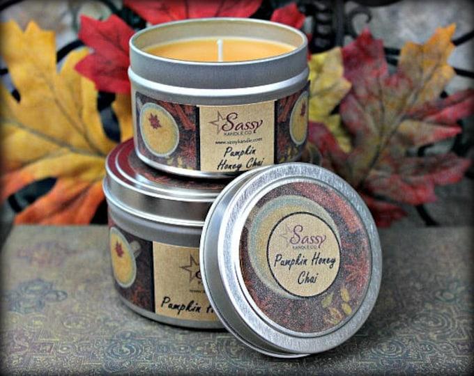 PUMPKIN HONEY CHAI | Candle Tin (4 or 8 oz) | Sassy Kandle Co.