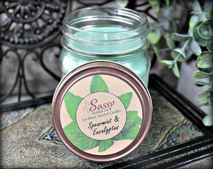 SPEARMINT & EUCALYPTUS   Mason Jar Candle    Phthalate Free   Sassy Kandle Co.