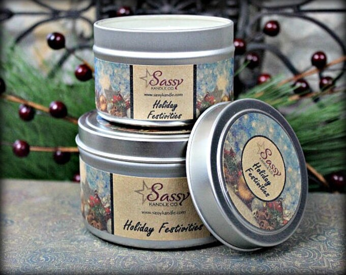 HOLIDAY FESTIVITIES | 4 oz Candle Tin | 8 oz Candle Tin | Soy Blend Candle | Sassy Kandle Co.