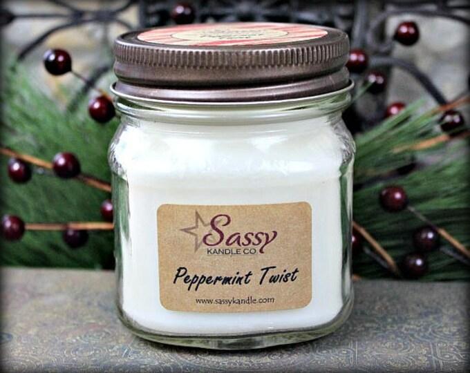 PEPPERMINT TWIST | Mason Jar Candle | Sassy Kandle Co.