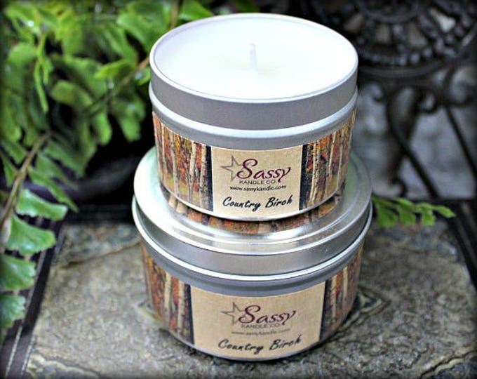 COUNTRY BIRCH |  4 oz Candle Tin | 8 oz Candle Tin | Phthalate Free | Sassy Kandle Co.