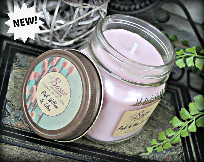 PINK WILLOW & LILAC | Mason Jar Candle |  Phthalate Free | Sassy Kandle Co.
