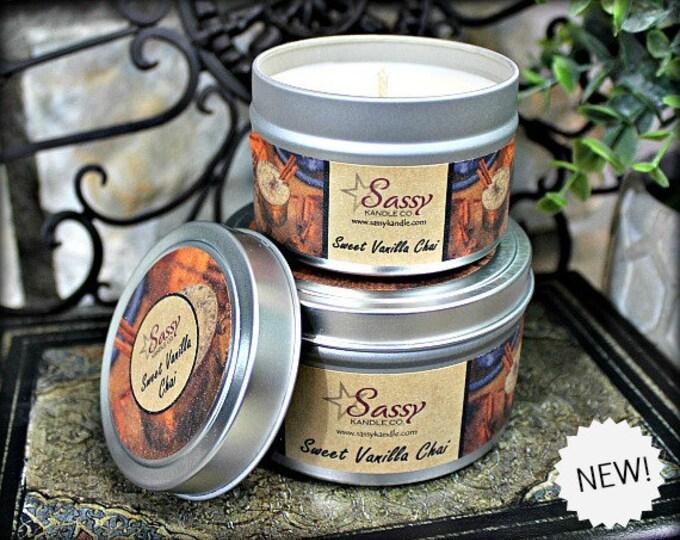 SWEET VANILLA CHAI | Candle Tin (4 or 8 oz) | Sassy Kandle Co.
