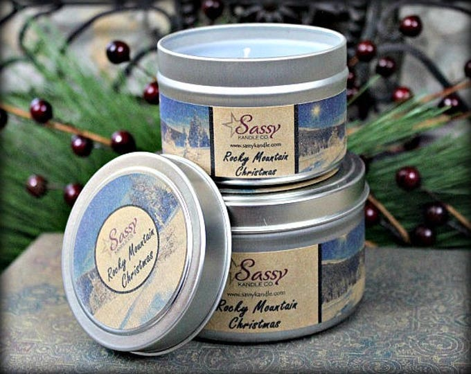 ROCKY MOUNTAIN CHRISTMAS | 4 oz Candle Tin | 8 oz Candle Tin | Phthalate Free | Sassy Kandle Co.