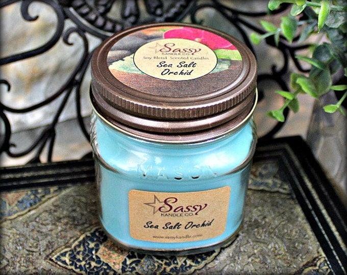 SEA SALT ORCHID | Mason Jar Candle |  Phthalate Free | Sassy Kandle Co.