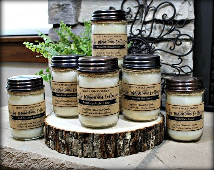 Free Shipping!  |  ROCKY MOUNTAIN COLLECTION  (Pick 2) | Mason Jar Candle | Wood Wick | Soy Blend | Sassy Kandle Co.