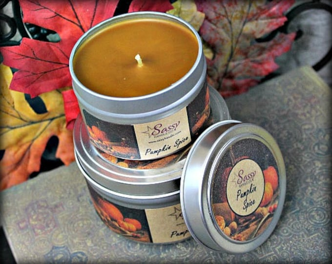 PUMPKIN SPICE | Candle Tin (4 or 8 oz) | Phthalate Free | Sassy Kandle Co.