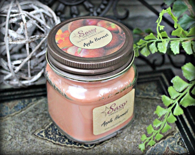 APPLE HARVEST  | Mason Jar Candle | Phthalate Free | Fall Candle | Sassy Kandle Co.