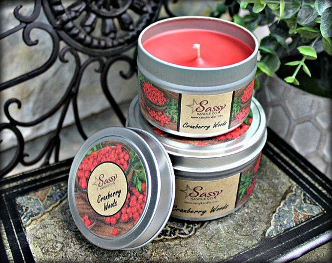 CRANBERRY WOODS | 4 oz Candle Tin | 8 oz Candle Tin | Phthalate Free | Sassy Kandle Co.