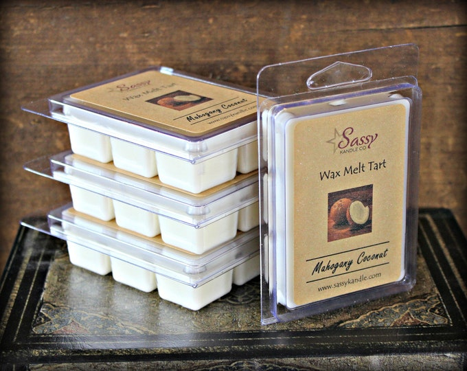 MAHOGANY COCONUT | Wax Melt Tart | Wax Tart | Wax Melt | Pthalate Free | Soy Blend | Sassy Kandle Co.