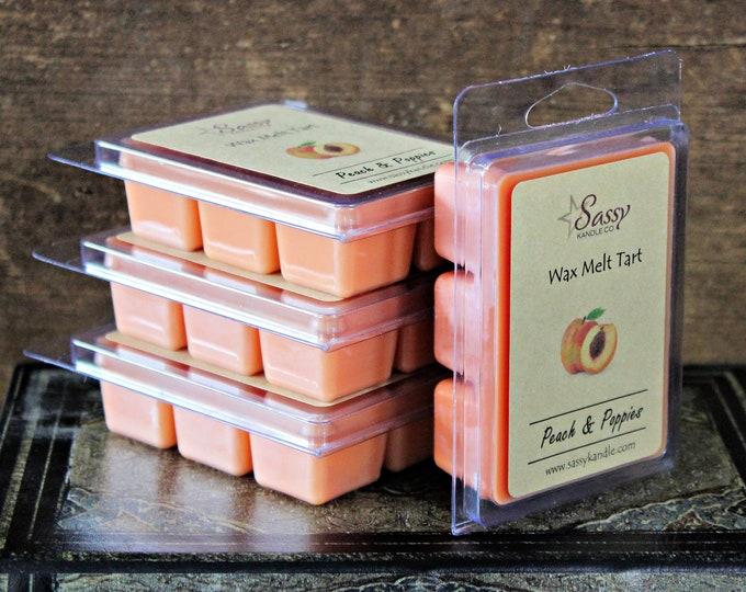 PEACH & POPPIES | Wax Melt Tart | Wax Tart | Wax Melt | Pthalate Free | Soy Blend | Sassy Kandle Co.