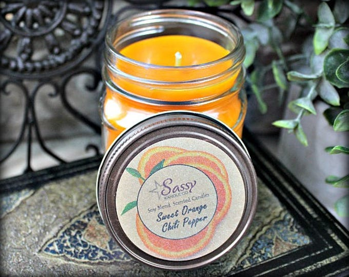 Sweet Orange Chili Pepper | Mason Jar Candle |  Phthalate Free | Sassy Kandle Co.