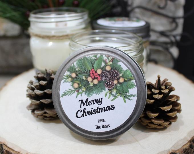 12 HOLIDAY CANDLE FAVORS   Mason Jar Candle   Wood Wick   Soy Blend   Sassy Kandle Co.