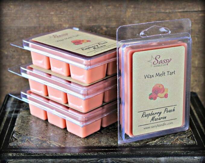 RASPBERRY PEACH MACARON | Wax Melt Tart | Wax Tart | Wax Melt | Pthalate Free | Soy Blend | Sassy Kandle Co.