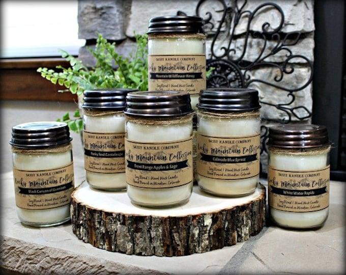 Pick 1   ROCKY MOUNTAIN COLLECTION   Mason Jar Candle   Wood Wick   Soy Blend   12 oz Mason Candle   Sassy Kandle Co.