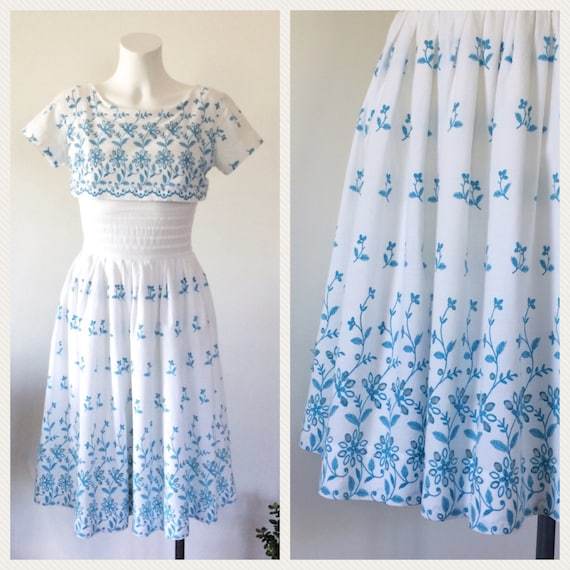 Vintage 50s Dress, 1950s White Eyelet Dress, Cotto