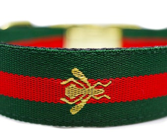 Charming Green Red Christmas Ornament Dog Collar Large