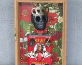 Steampunk Day of the Dead assemblage, quot Little Prince. quot Black skull, cigarette tin, crown and scepter all in cigar box ready to hang on wall