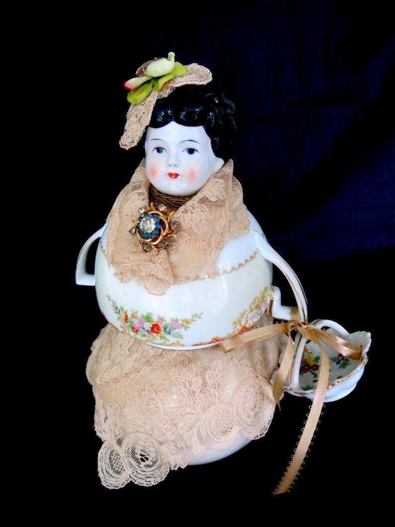 China assemblage doll.  Ooak china head with china bowls image 0