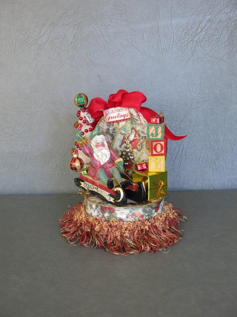 Christmas Santa assemblage.  Vintage House of Hatten Santa on image 1
