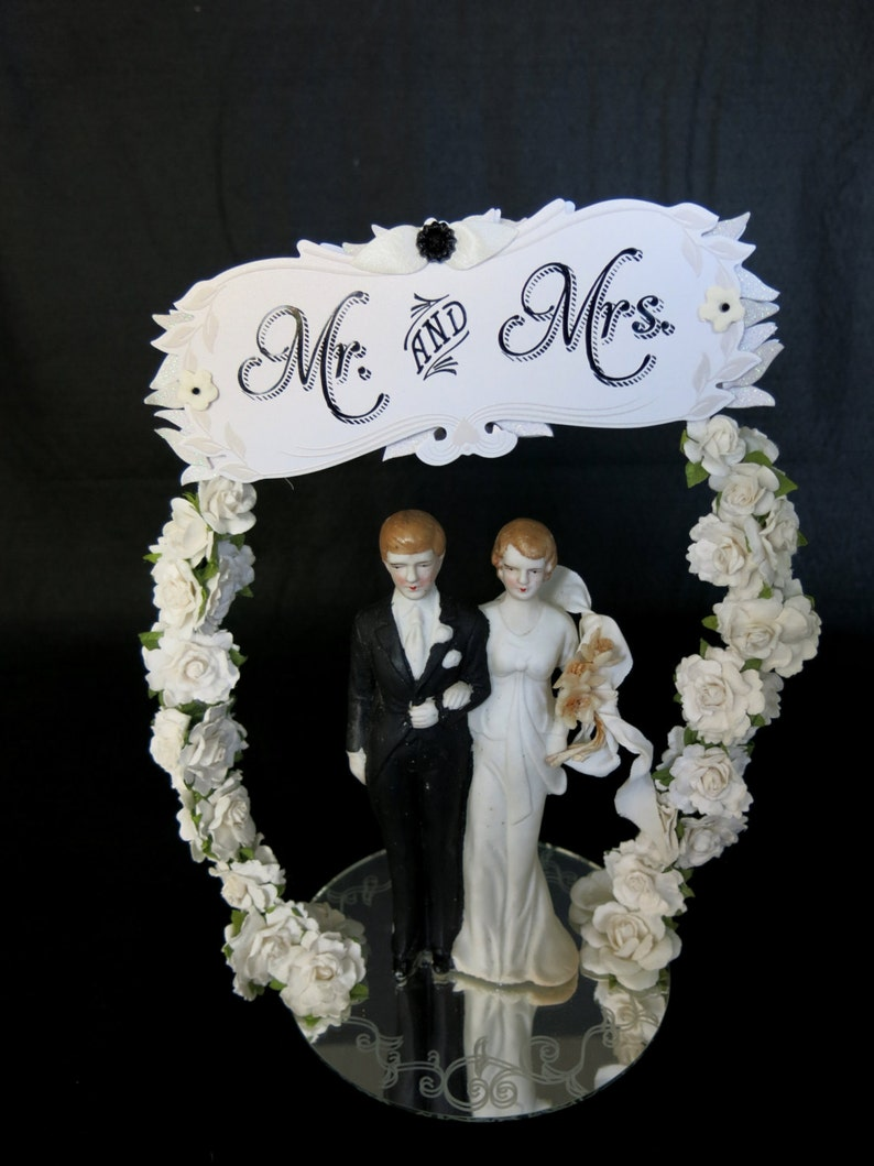 Wedding or Anniversary cake topper.  Porcelain bride and groom image 0