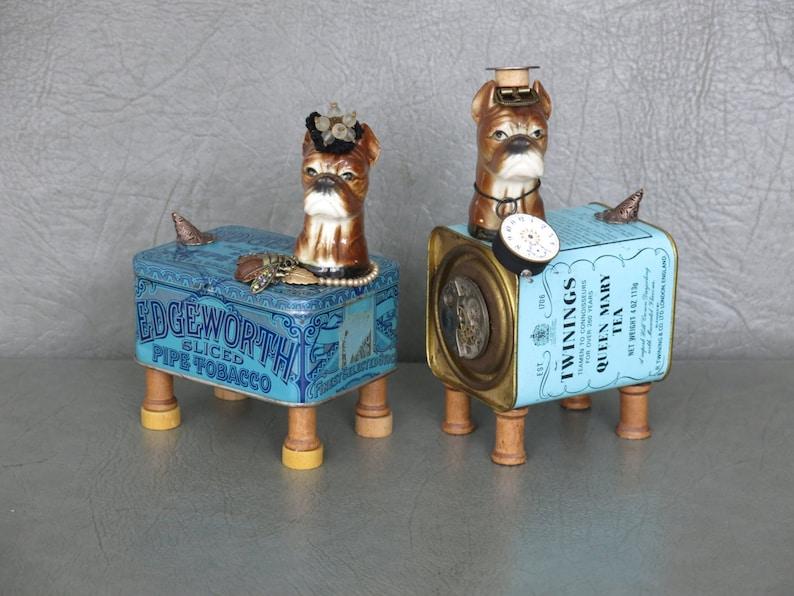Pair of steampunk dog sculptures.  Porcelain boxer heads image 0