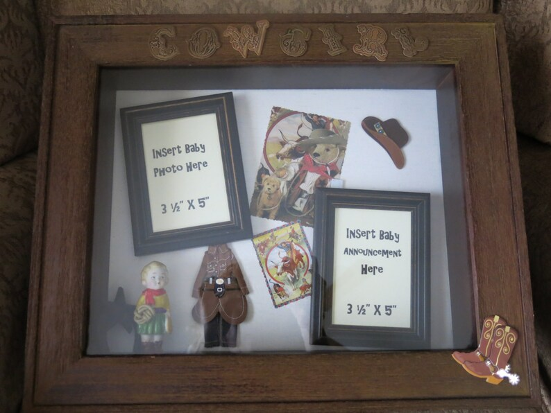 Cowgirl baby shadow box.  Keepsake box for baby's photo image 0