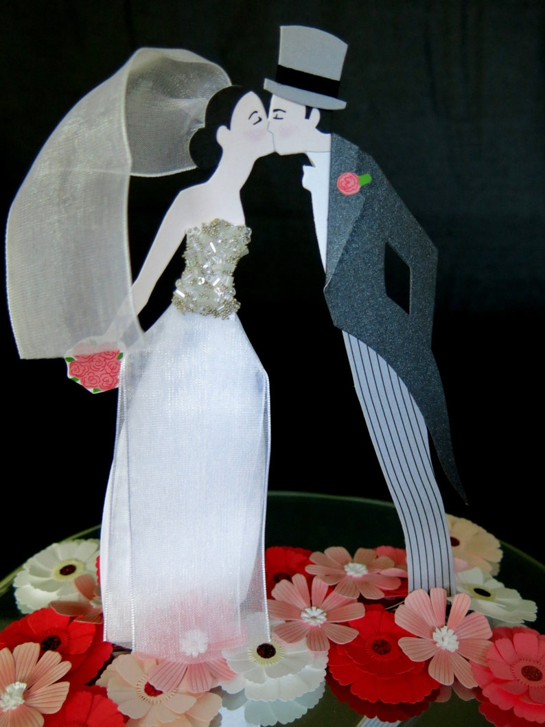 Wedding cake topper.  Contemporary style paper art with image 0