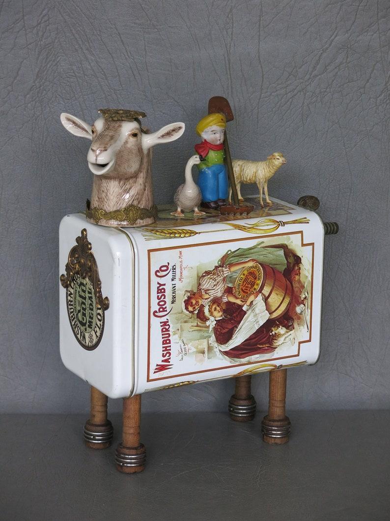 Assemblage goat On the Farm.  Porcelain goat image 1