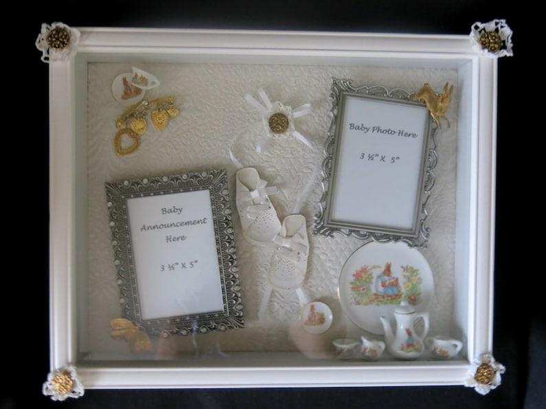 Beatrix Potter shadow box.  Keepsake box for baby's photo image 1