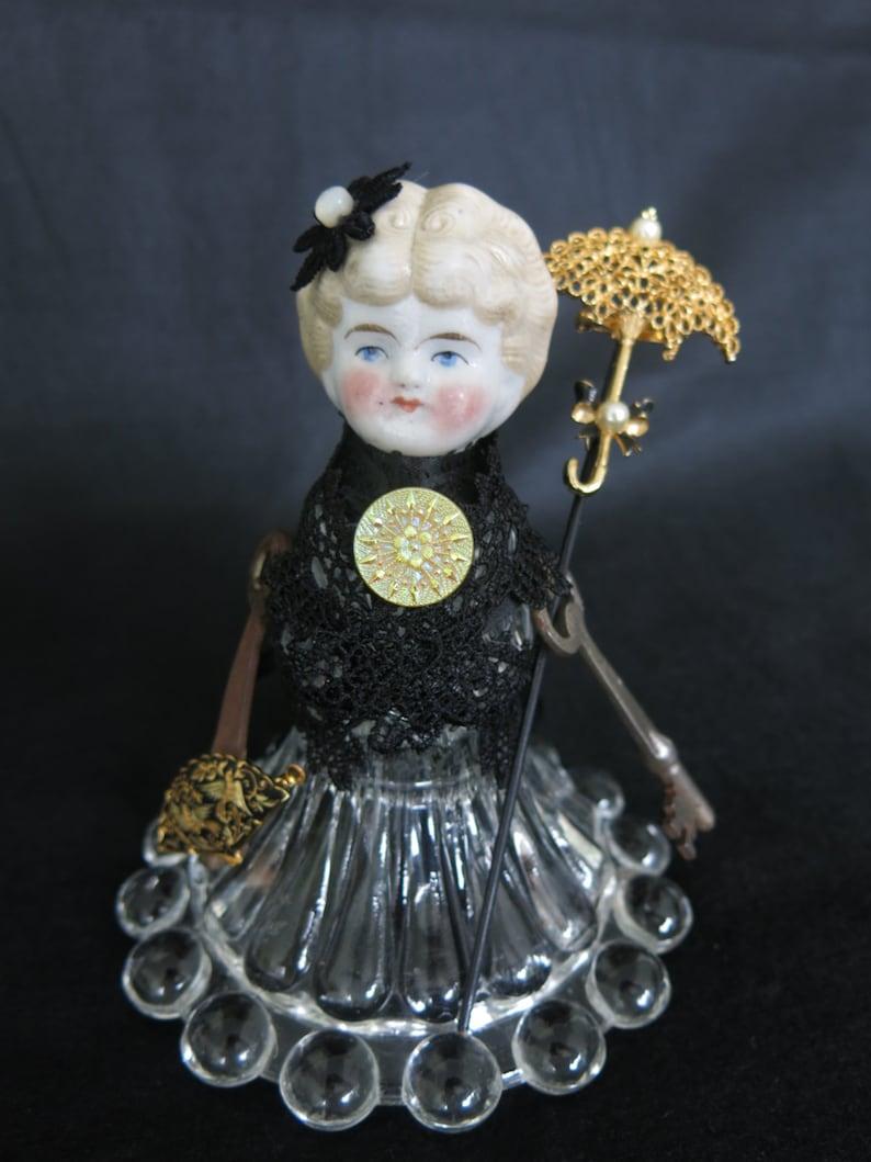Crystal assemblage doll.  Antique blond porcelain head image 0