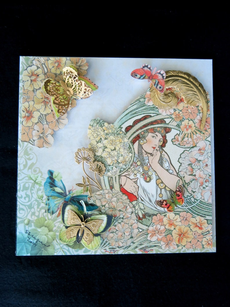 Mucha shadow box.  3D paper and brass collage based on art image 0