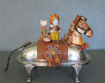 """Native American assemblage.  One of a kind southwest assemblage sculpture called, """"Indian Trader.""""  Chief on horse with mini accessories."""