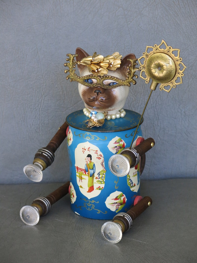 One-of-a-kind assemblage cat Siamese Masquerader. image 0