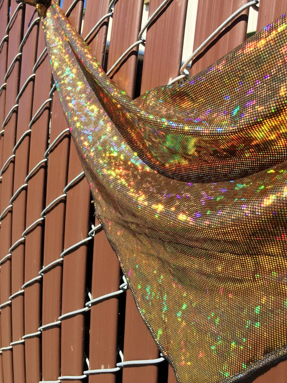 Gold on Black Spandex Bandana w/ Shattered Glass Holographic Gold Rainbow Sheen and Hidden Stash Pocket