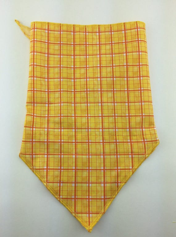 Chill Plaid: Yellow and Orange Stash Pocket Bandana w/ Basic Plaid Print