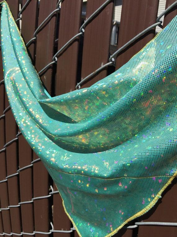 Holographic Gold on Mint/Seafoam Spandex Bandana w/ Shattered Glass Holo Rainbow pattern and Hidden Stash Pocket
