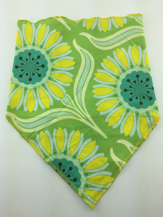 Secret Pocket Bandana in Green Cotton w/ Abstract Trippy Flowers in Blue, Periwinkle, Aqua, Yellow