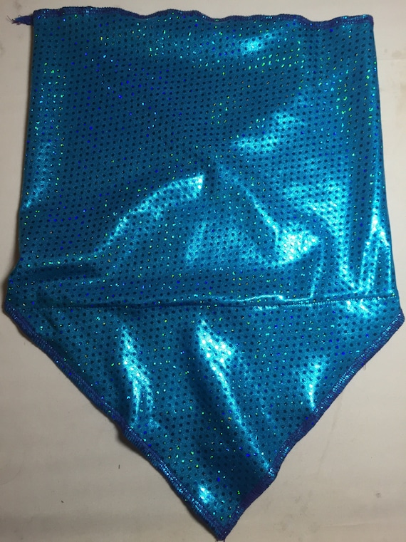 Holographic Aqua Blue Green Spandex Bandana w/ Holo Rainbow Dot pattern and Hidden Stash Pocket
