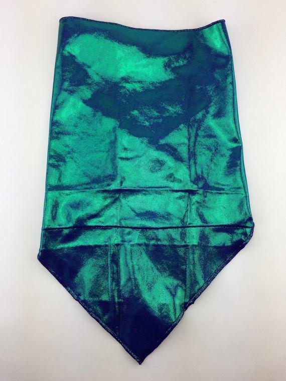 Mermaid Tail: Metallic Seafoam Green Sheen on Purple Spandex Bandana w/ Hidden Stash Pocket